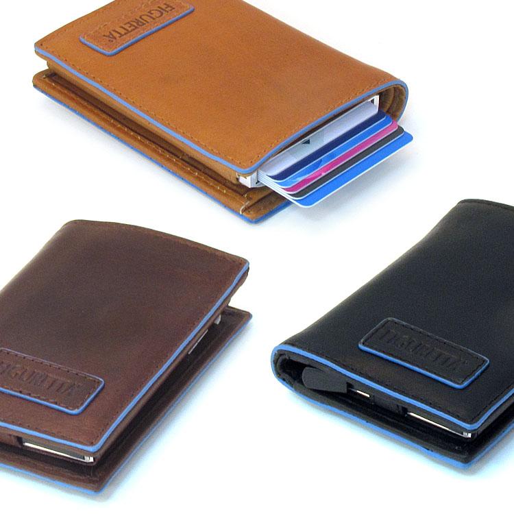 Figuretta RFID Leder Blue Line + muntgeld Cardprotectors