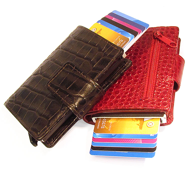 Figuretta RFID Croco leder + muntgeld Cardprotectors